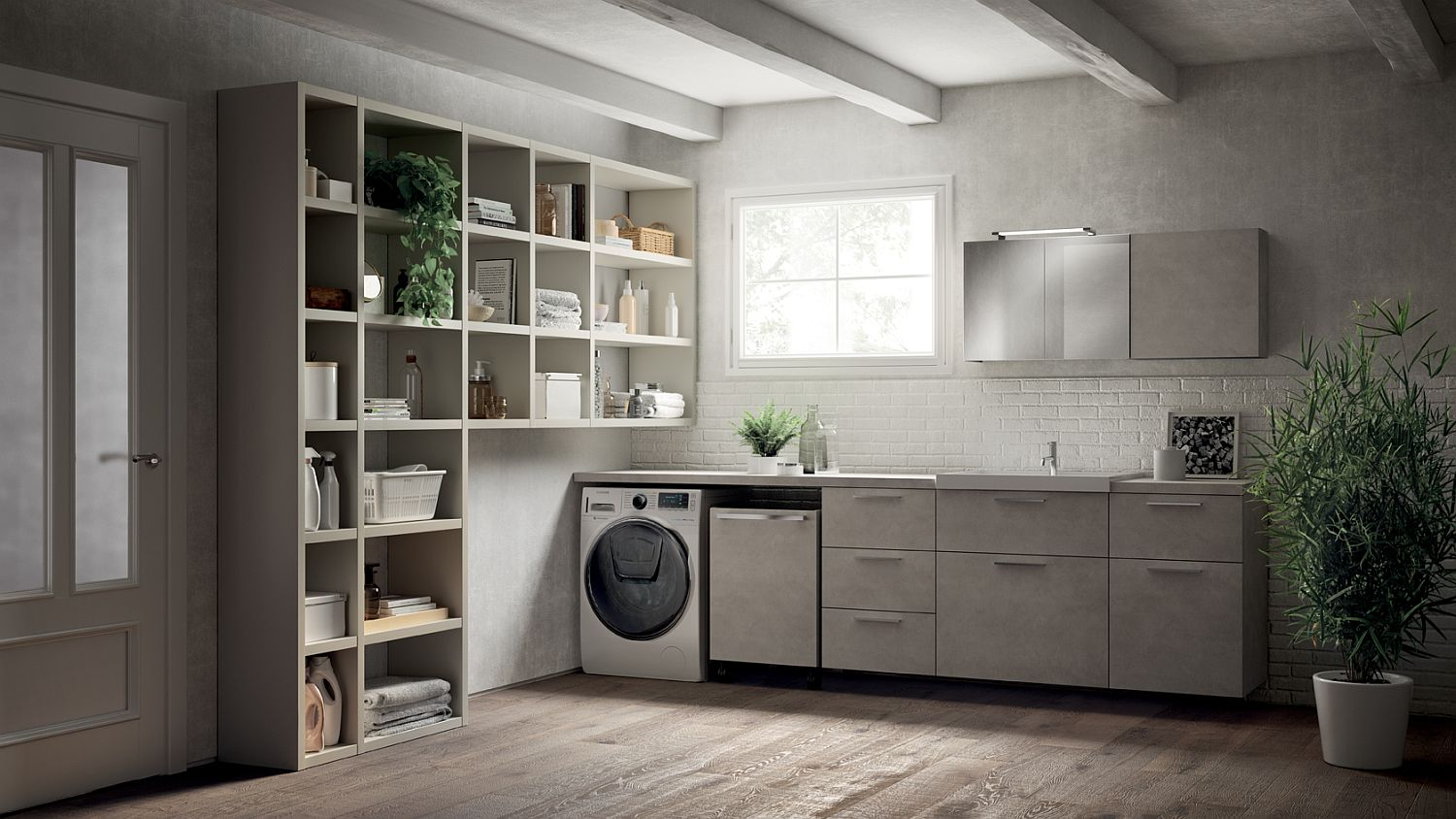 Fluida wall system combined with refined bathroom setting and smart laundry space