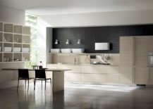 Fluida wall system combined with ultra minimal Qi kitchen 217x155 Inspired by Japanese Minimalism: Posh Scavolini Kitchen Conceals It All!