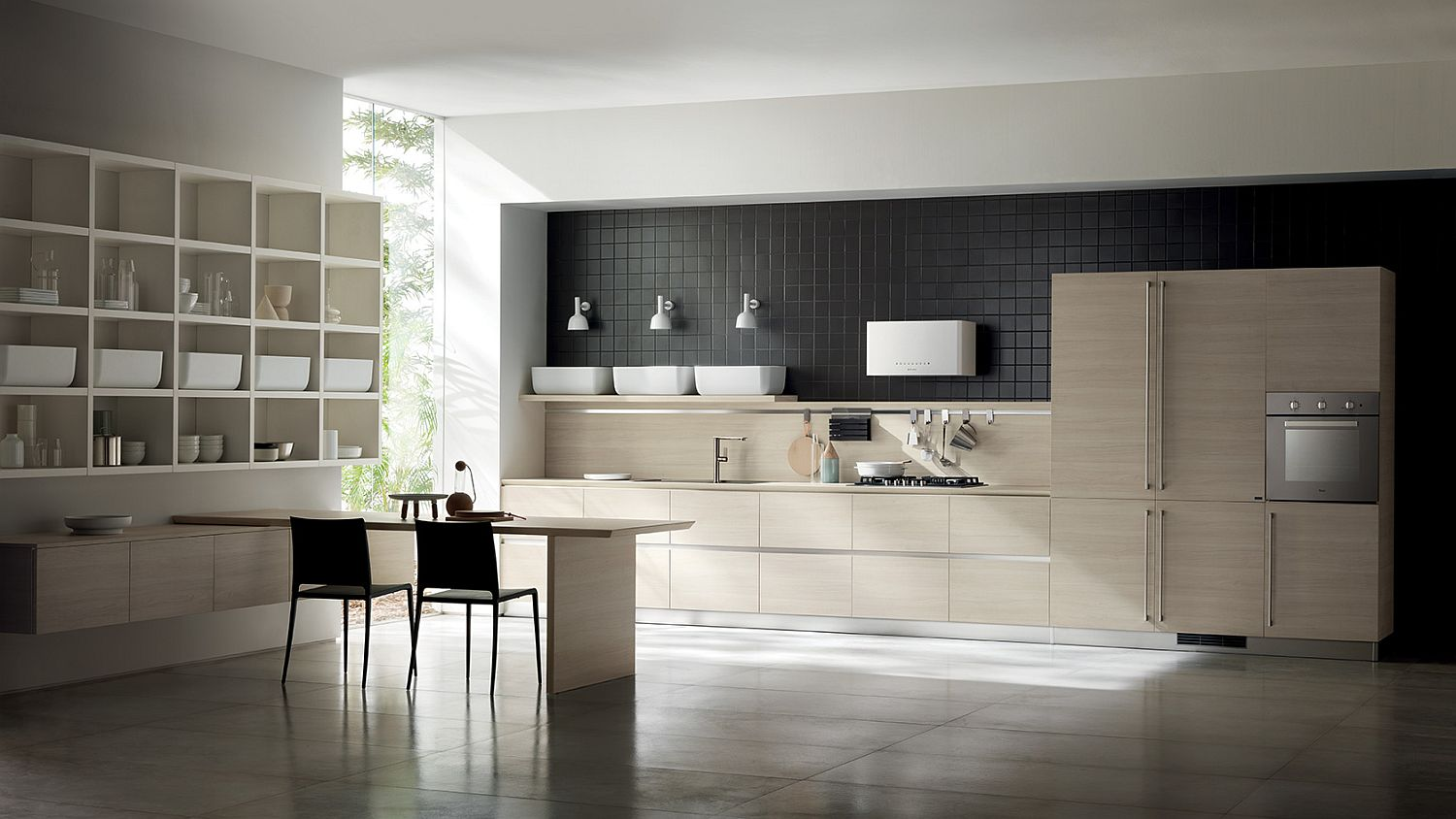 Fluida wall system combined with ultra-minimal Qi kitchen