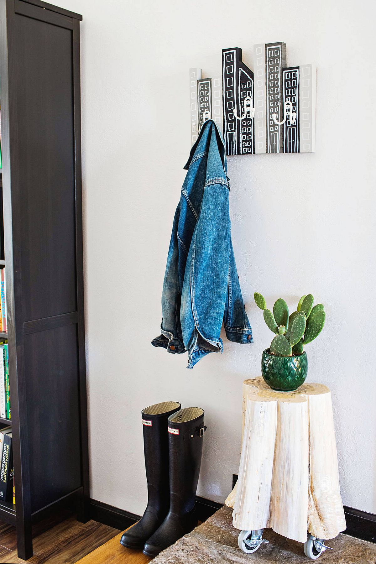 Fun DIY Cityscape coat rack idea from