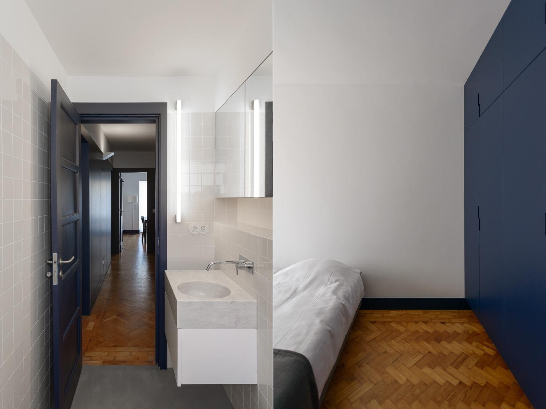 Dark blue doors and built in wardrobes