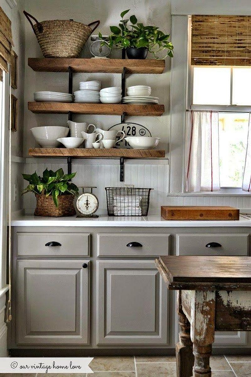 Get creative with the use of rustic shelves