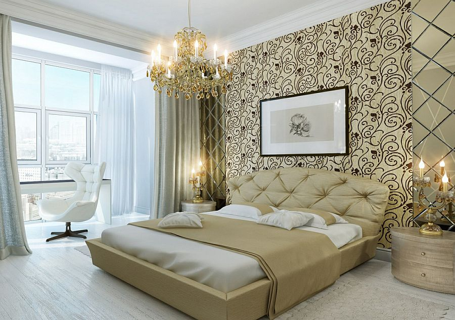 Glittering gold crystal chandelier brings an air of opulence to this master bedroom