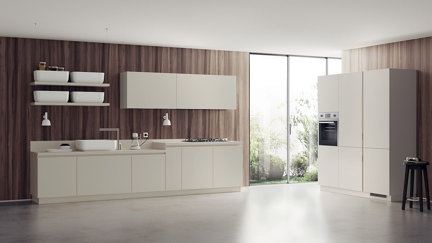 Gray, white and wood combine to create a stunningly minimal kitchen