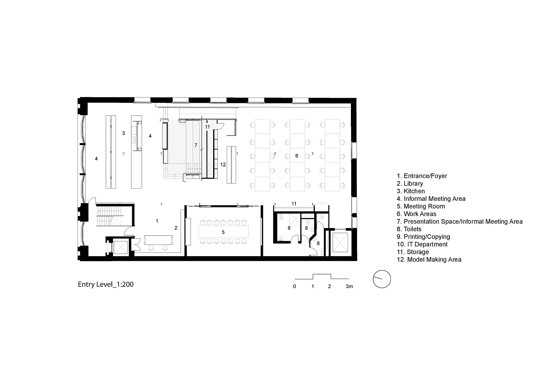 Box style events space with tiered seating defines this for Interactive office floor plan