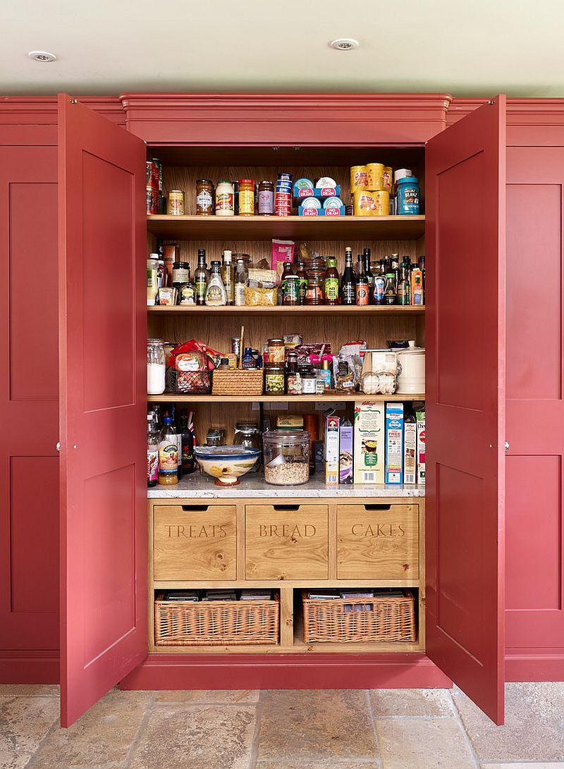 Handmade-wooden-boxes-and-baskets-bring-contrast-to-the-traditional-pantry