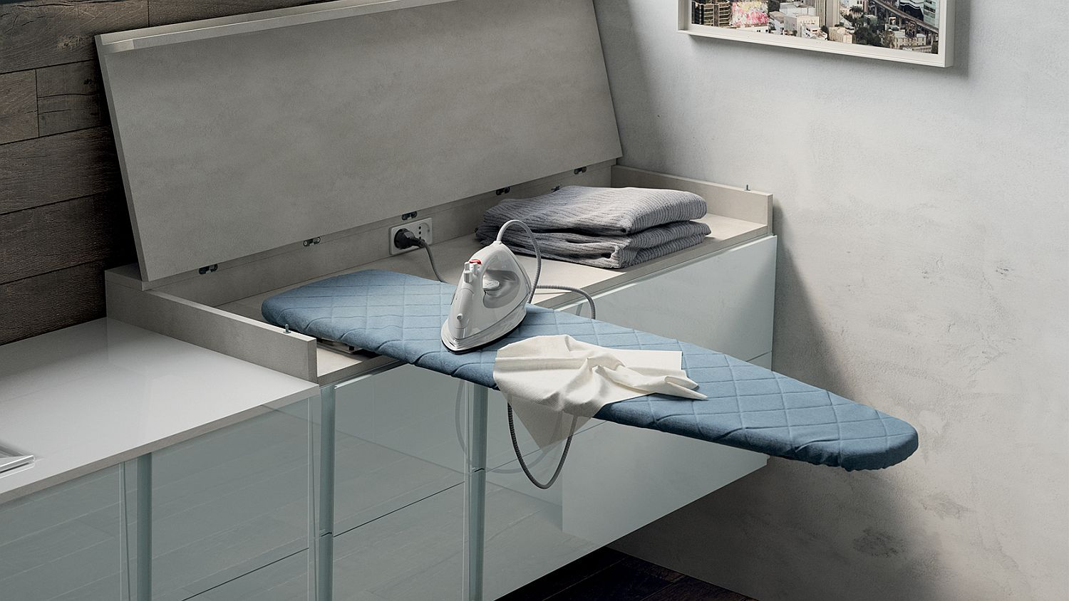 Hidden ironing space inside the contemporary bathroom