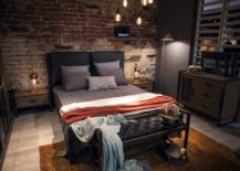 Industrial-style-bedroom-with-slim-copper-floor-lamp-next-to-the-bed-217x155