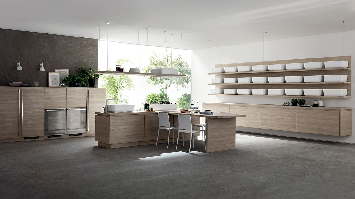 Japanese minimalism becomes the defining quality of this contemporary kitchen