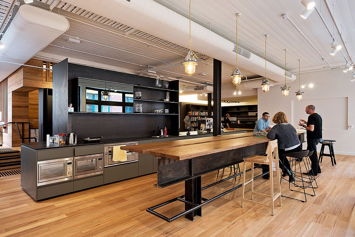 Kitchen and informal hangout inside the modern office