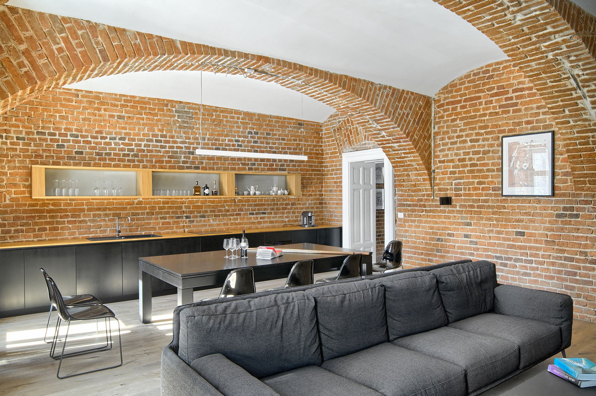 Kitchen, dining area and living of the 100 square meter apartment in Maribor, Slovenia