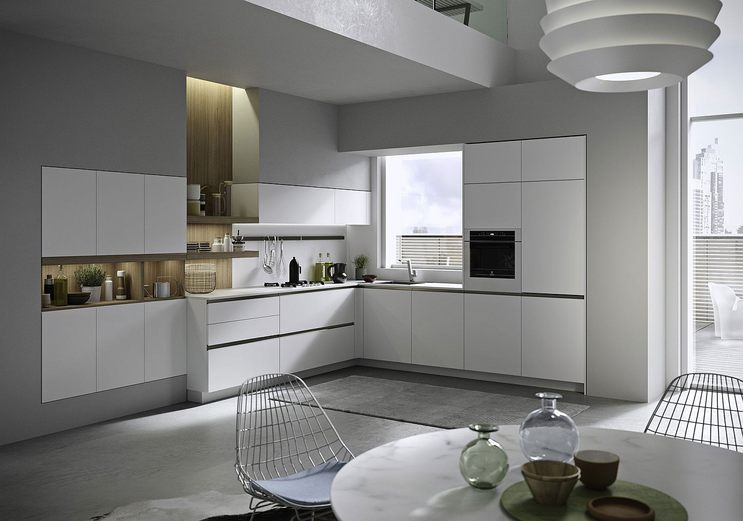 L-shaped wall kitchen in white with wooden backsplash