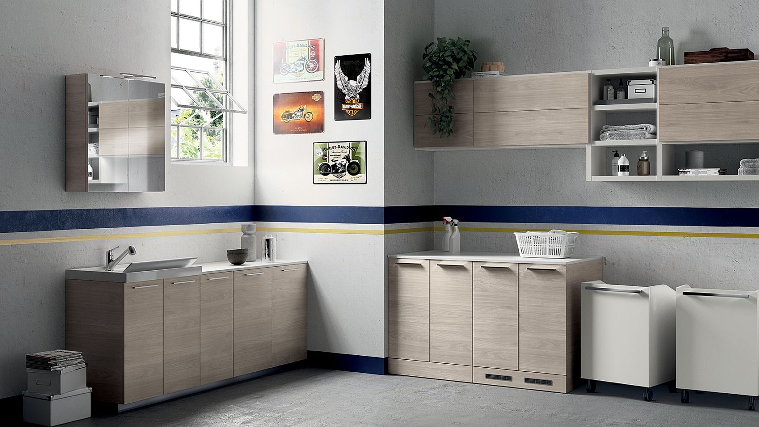 Light-filled bathroom and laundry space composition