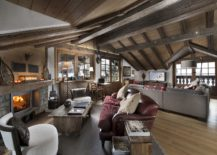 Living room of Chalet Le Namaste with a cozy fireplace 217x155 Enjoy Courchevel at its Stunning Best with Luxurious Chalet Le Namaste