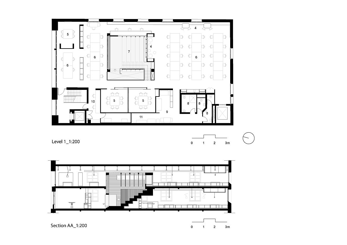 Look at the floor plans of both levels of Box Office in Melbourne