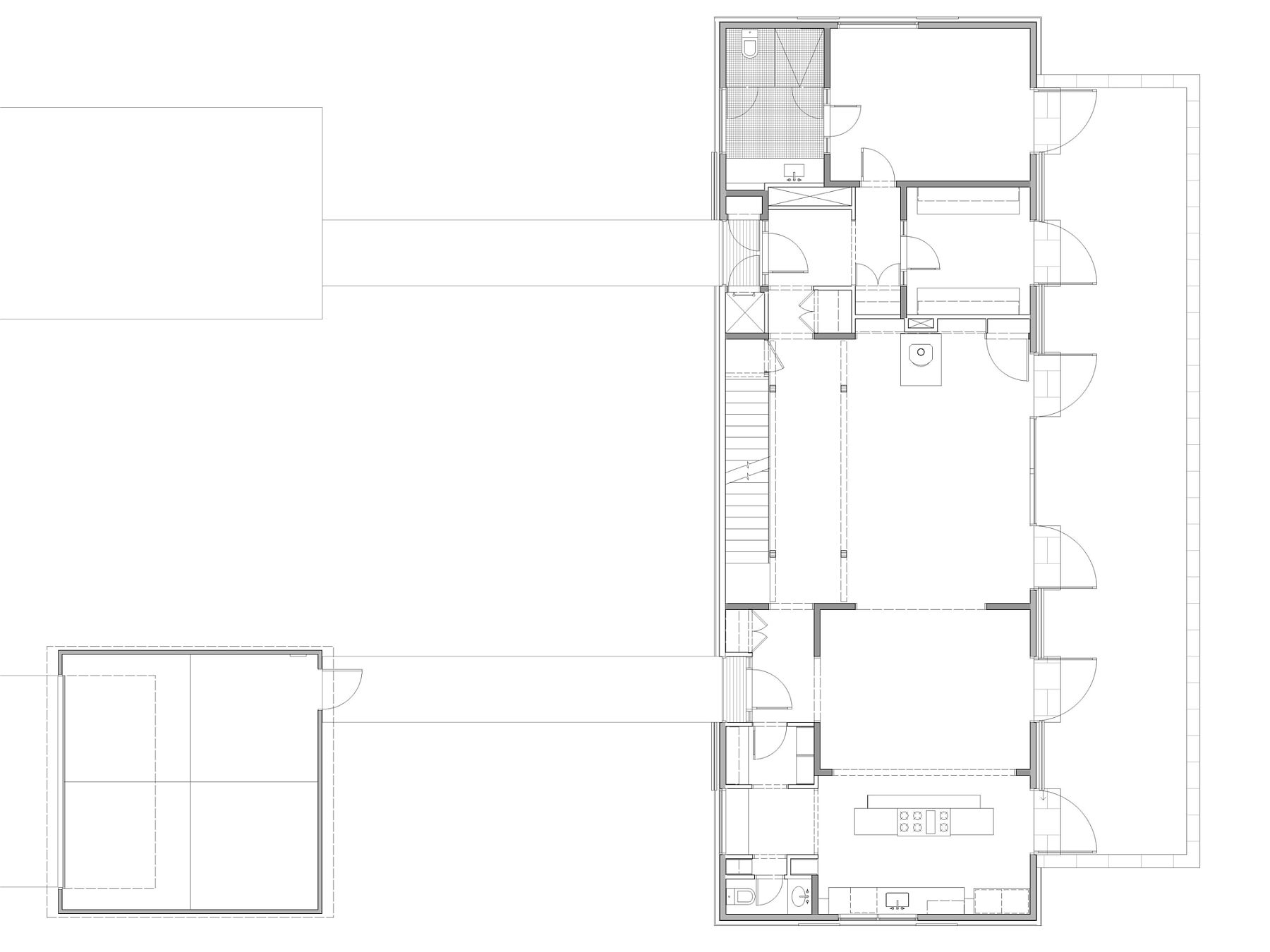 Lower level floor plan of the Pennsylvania Farmhouse