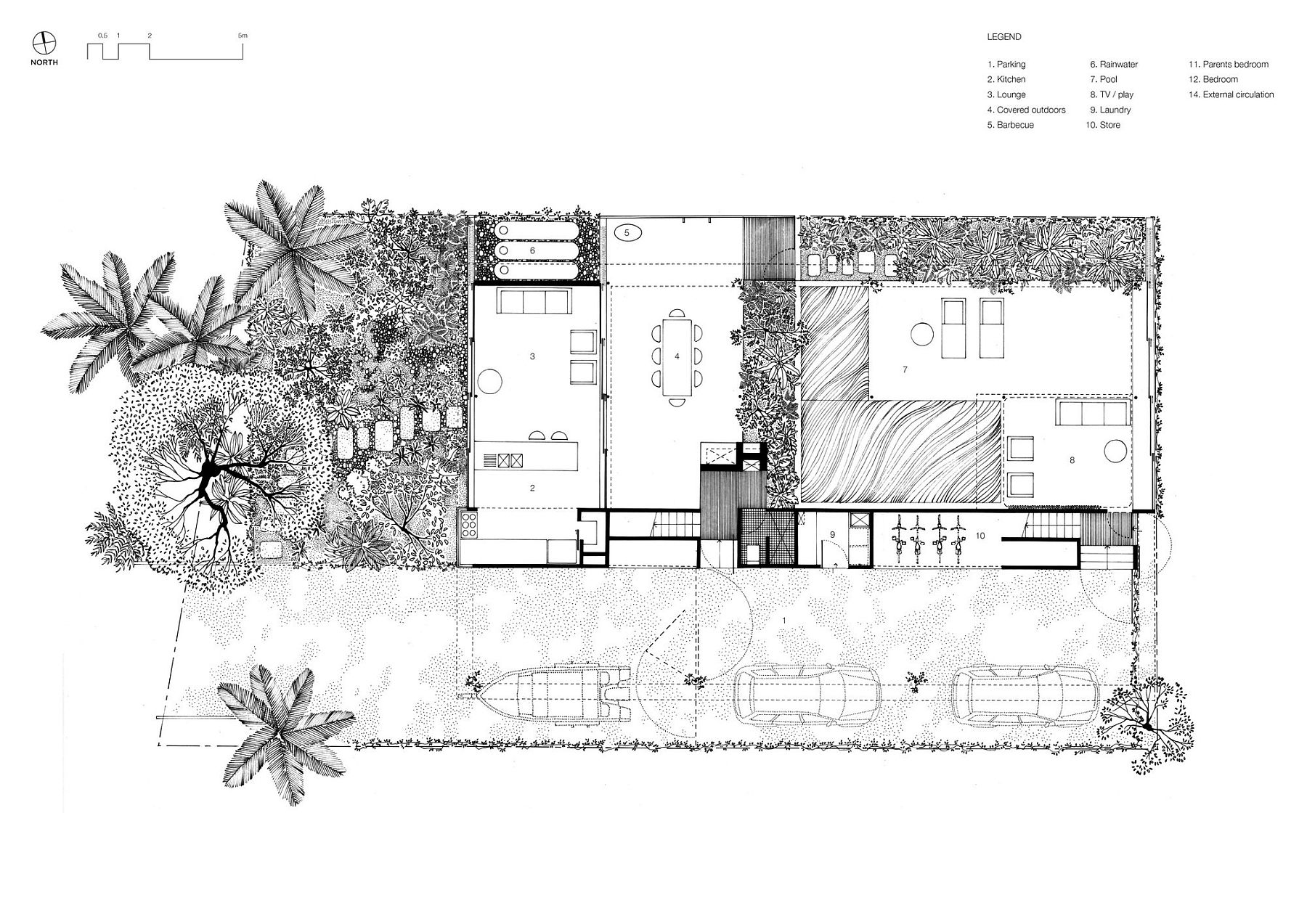 Lower level floor plan of the verandah style Aussie home