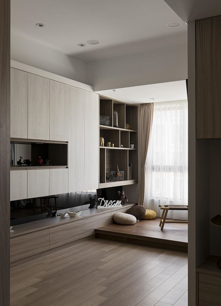 Minimal design of the living area gives the interior a spacious visual appeal