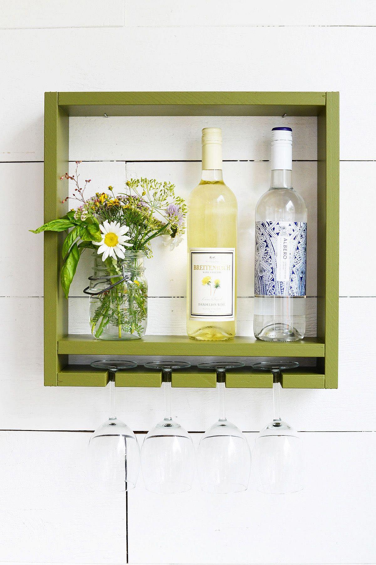 Modern DIY hanging wine rack