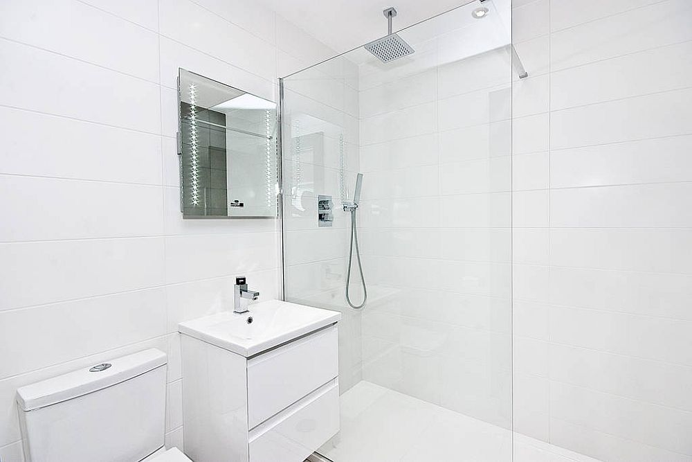 Modern bathroom in white with glass shower area