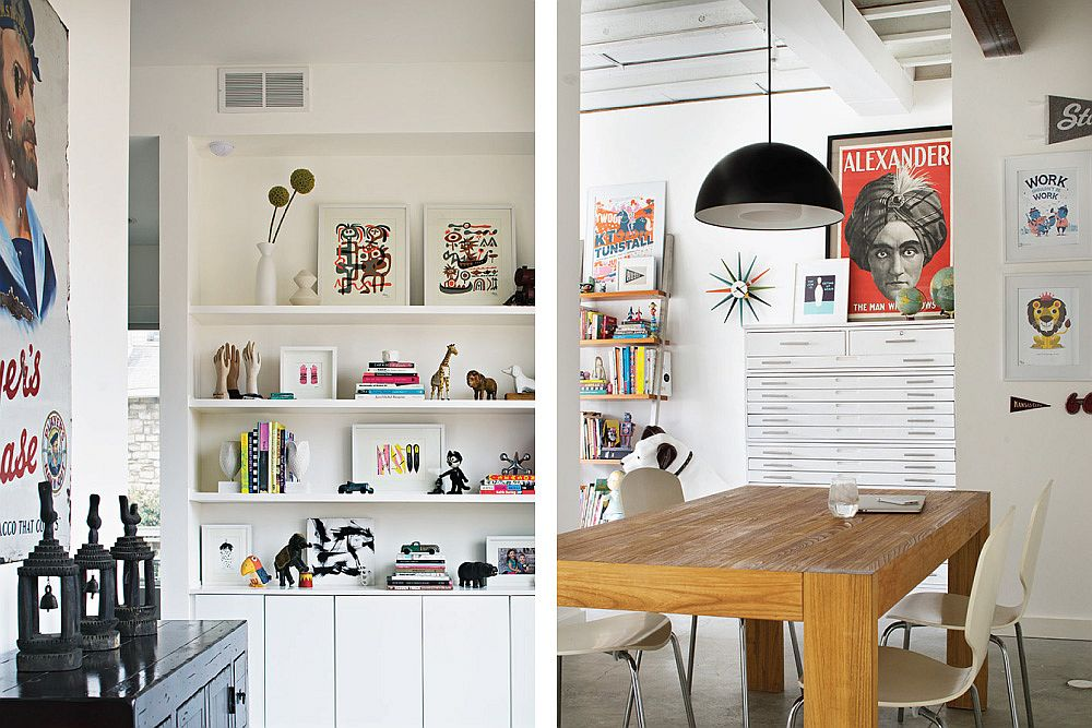 Modern home office in white with ample shelf space
