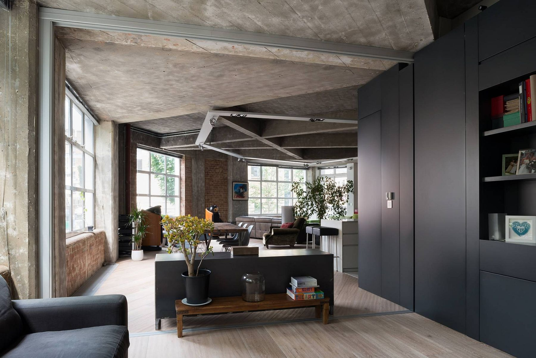 Modern joinery pieces bring modernity to the industrial loft