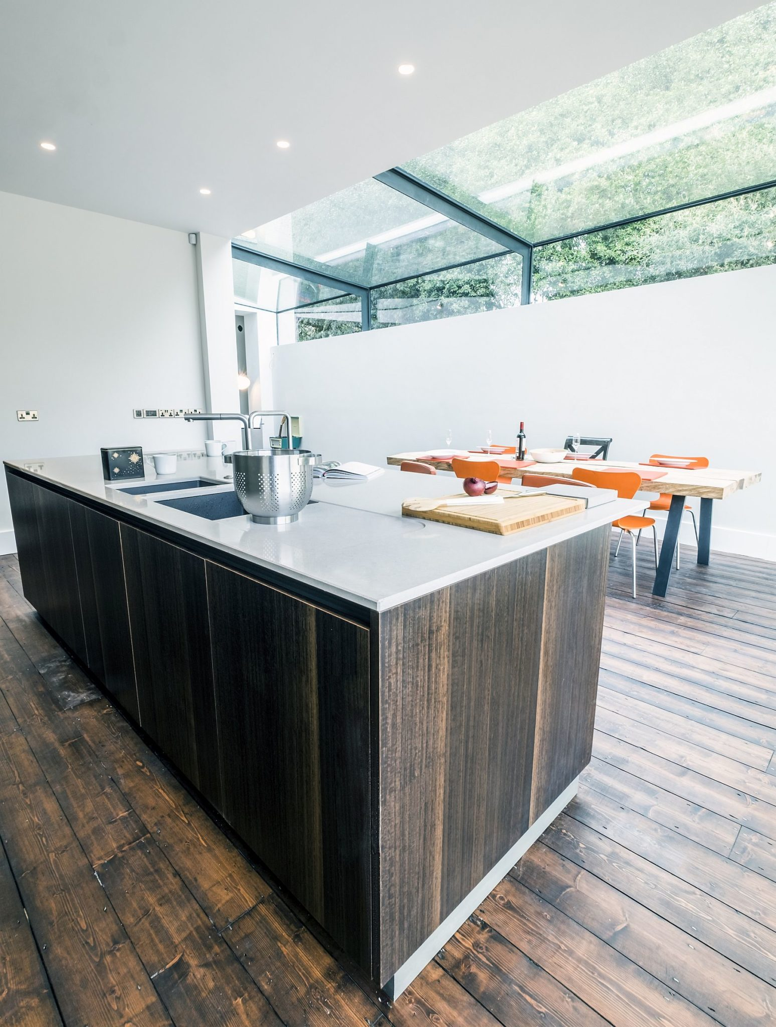 Modern kitchen island in wood and gray