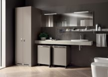 Modular units on wheels for Laundry Space and bathroom 217x155 Inventive New Scavolini Composition Combines Bathroom with Laundry Space