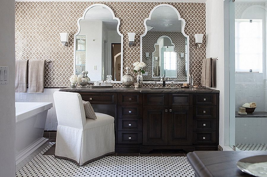 Moroccan style bathroom with modern appeal and vanity in dark wood