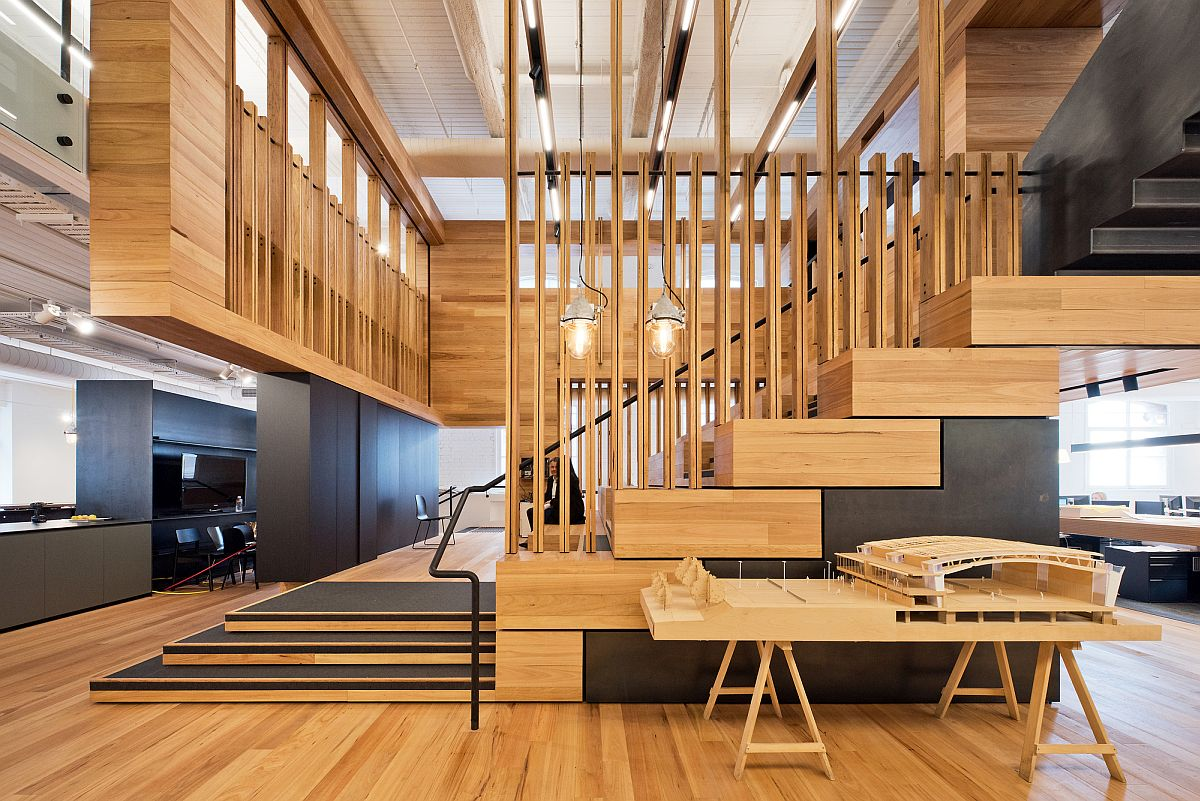 Multi-level events space inside the office with informal seating