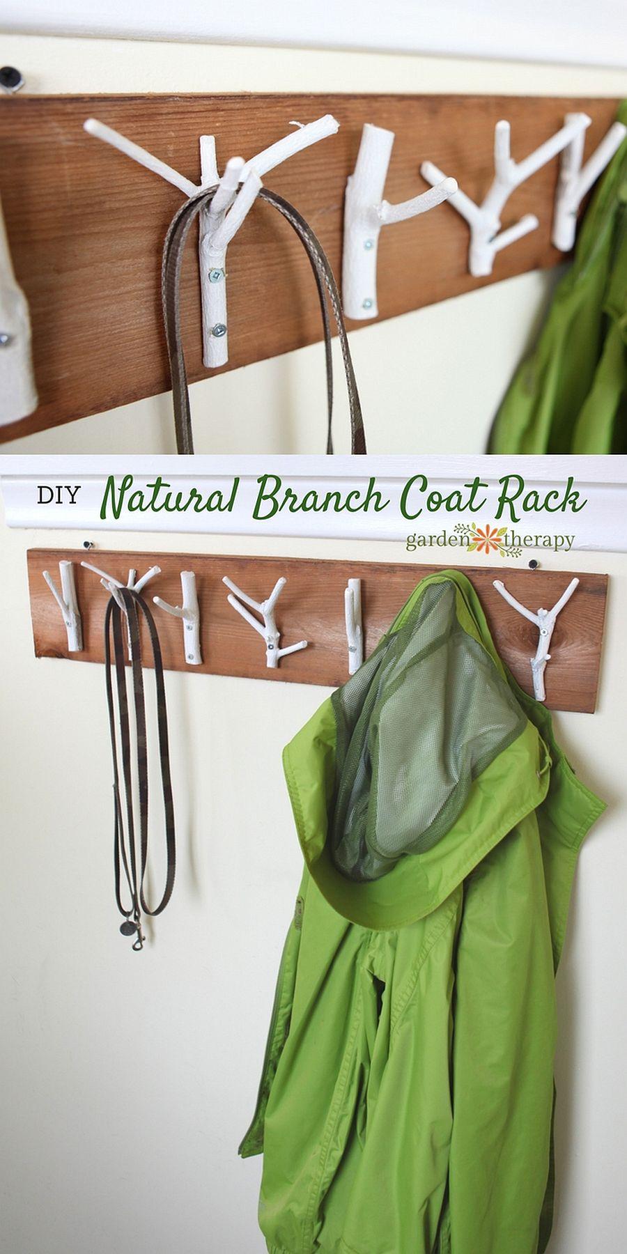 Natural branch coat rack DIY idea
