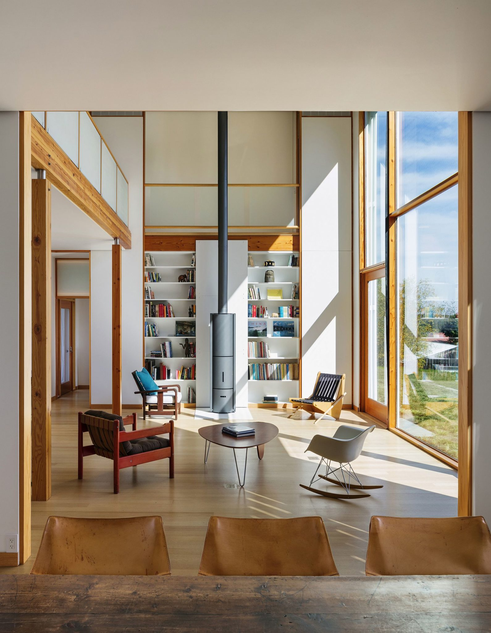 Natural sunlight in winter heats the living area