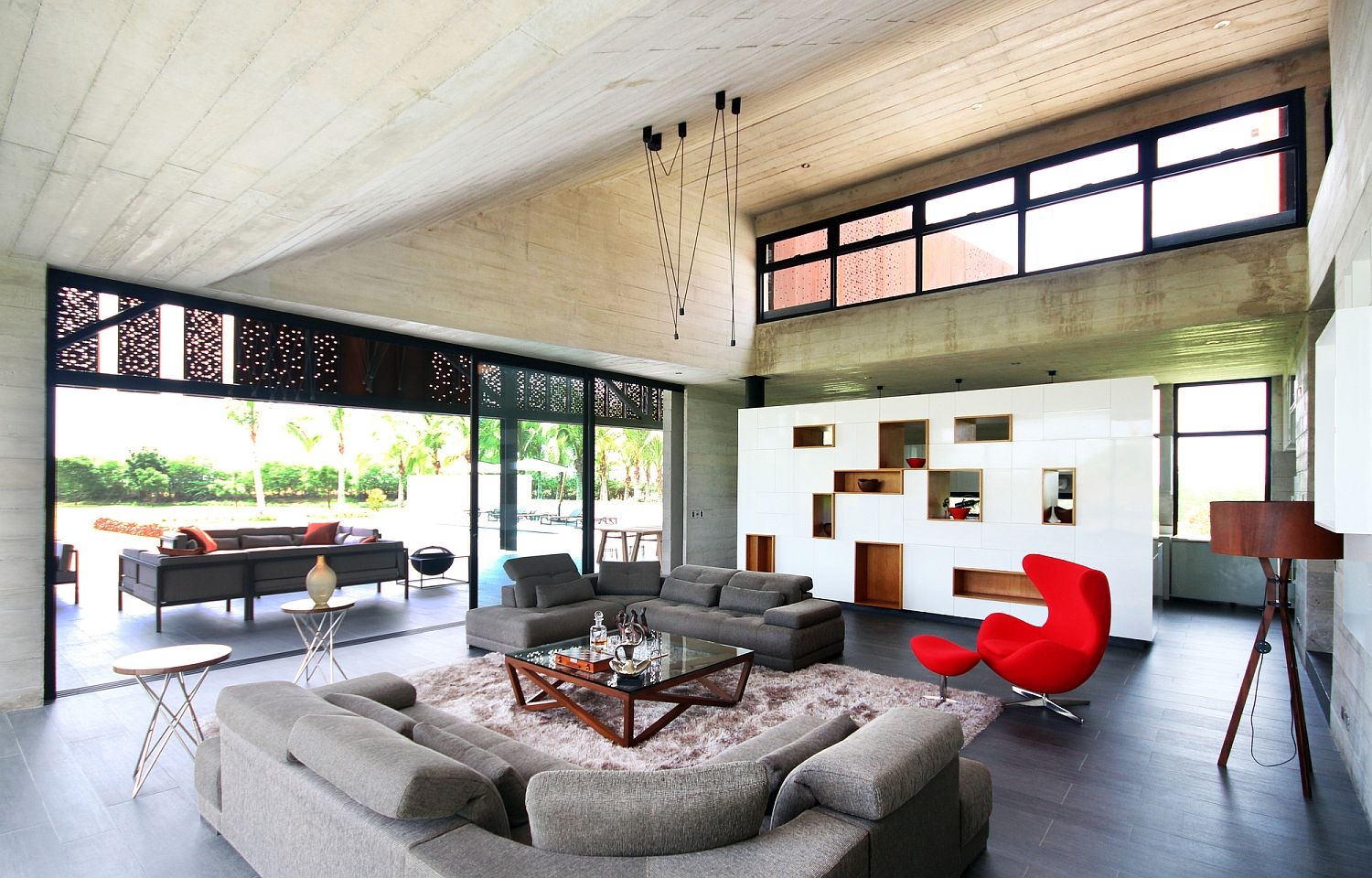 Neural living room with pops of red