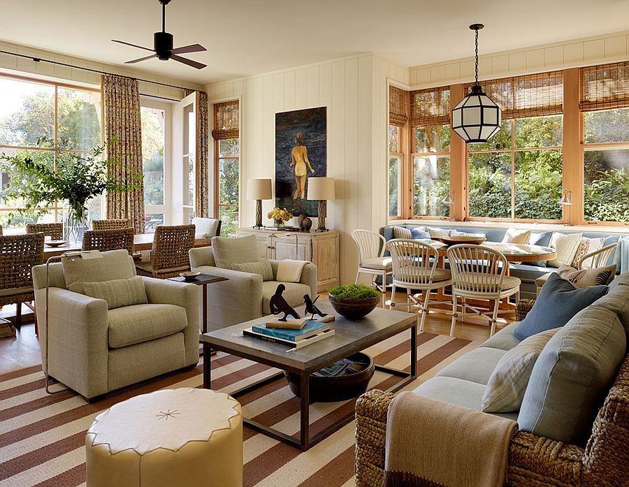 Open plan living area with striped rug and classic appeal