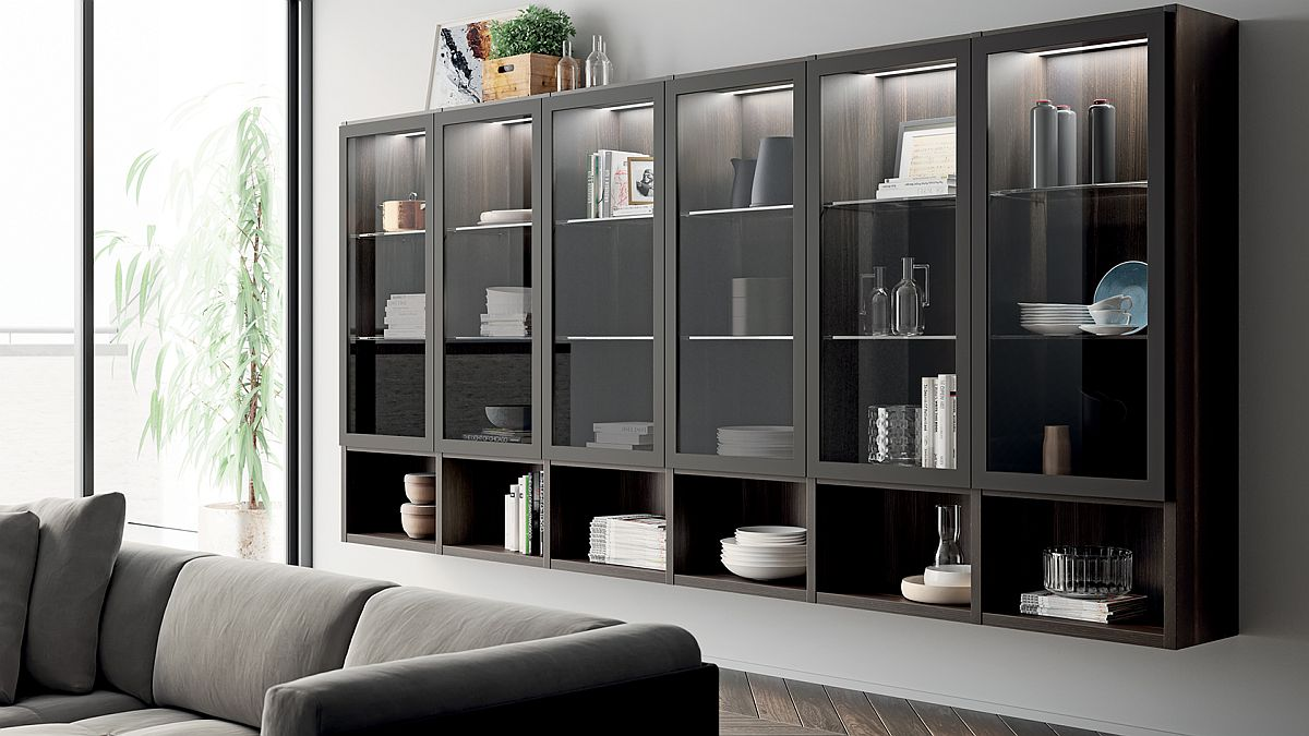 Living carattere sophisticated and minimal spaces - Open shelving living room ...