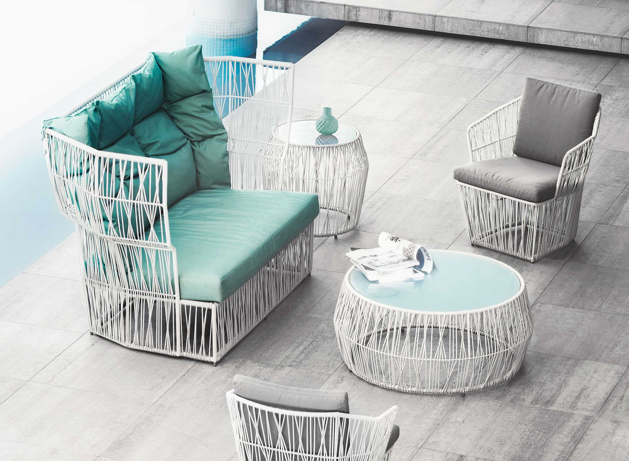 Polyethylene strands create the breezy and elegant Calyx Collection