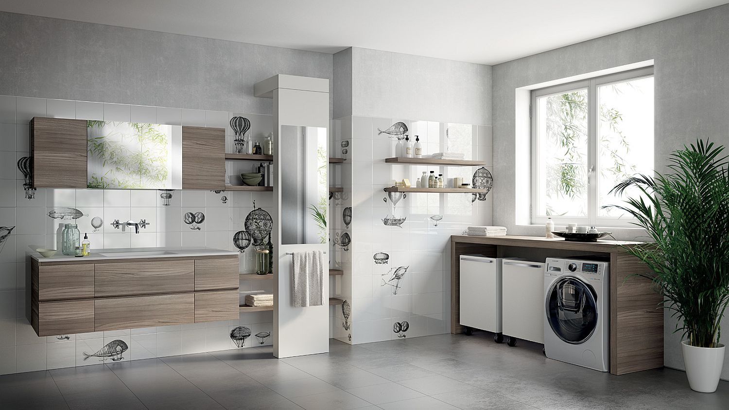 Laundry room and bathroom combo designs - View In Gallery Rivo Bathroom Combined With Ingenious Laundry