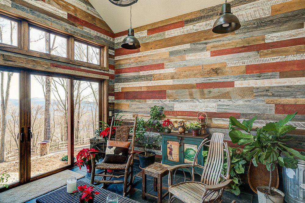 Rustic sunroom with reclaimed wood walls and a hint of green
