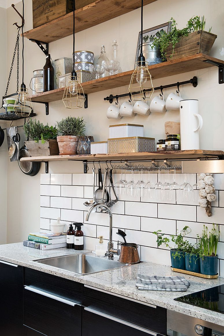 Scandinavian and rustic styles meet inside this small kitchen