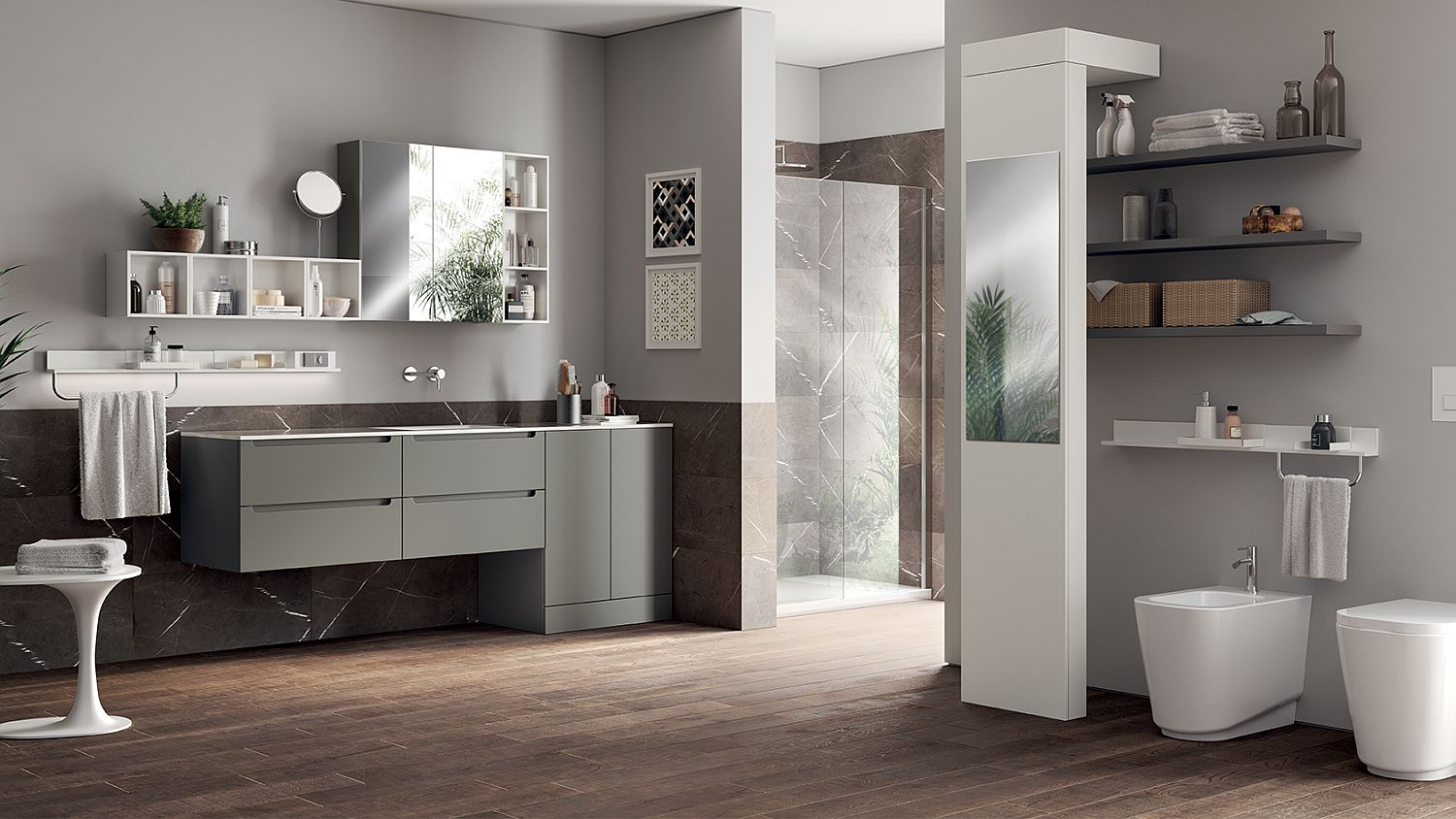 Scavolini's Idro bathroom in gray becomes the template for this Laundry Space Design