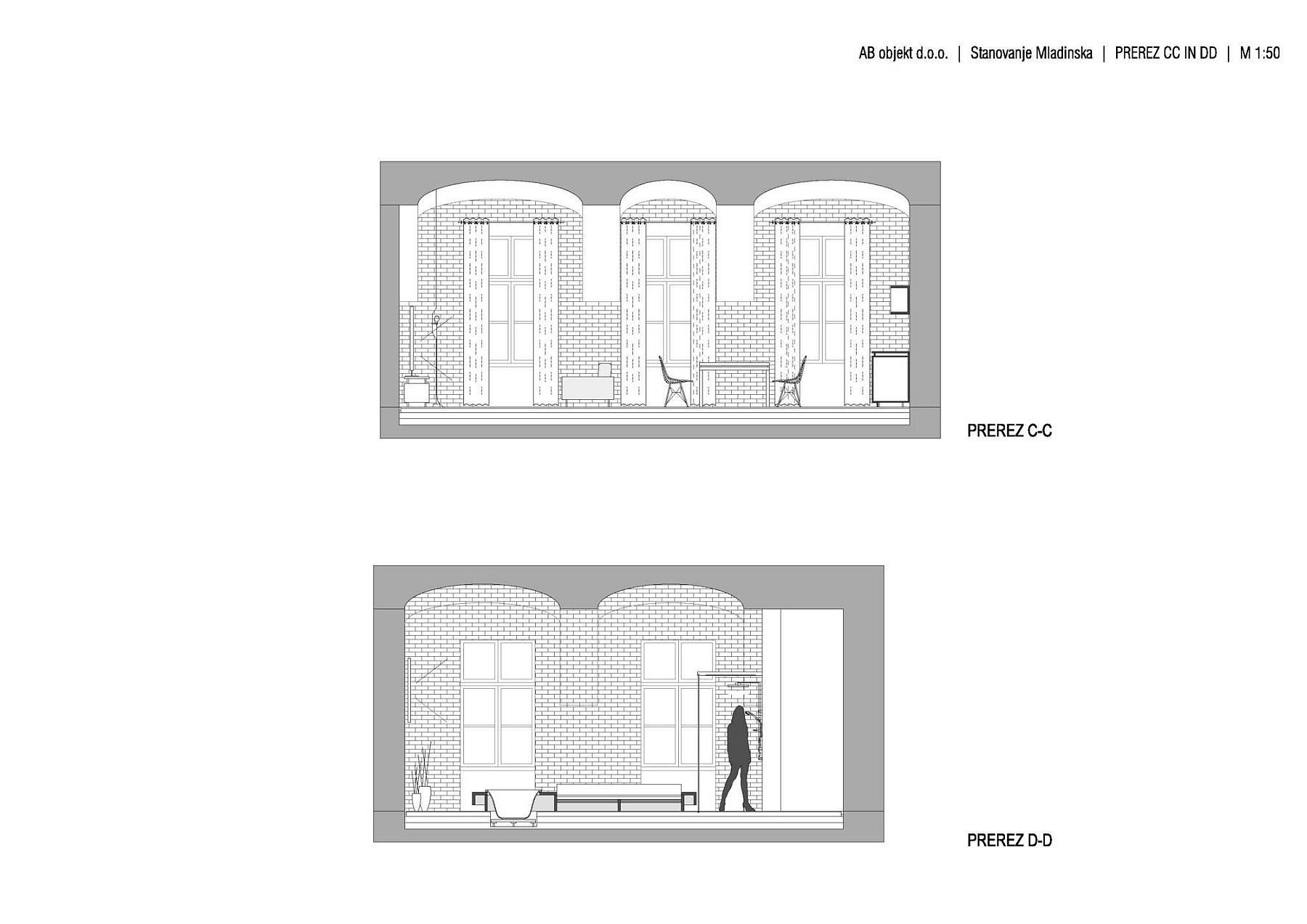 Sectional view of the Brick Apartment