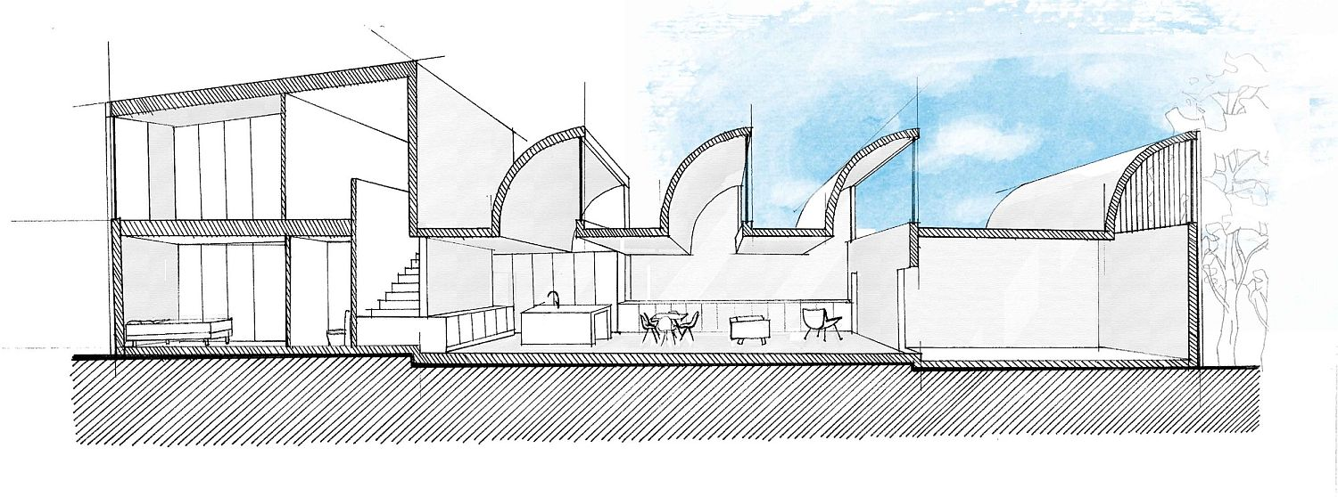 Sectional view of the creative concrete home in Melbourne