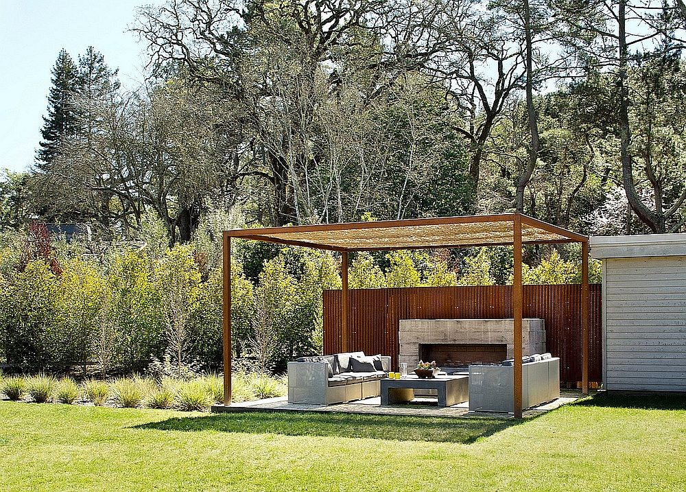 Shaded outdoor living area with a lovely pergola