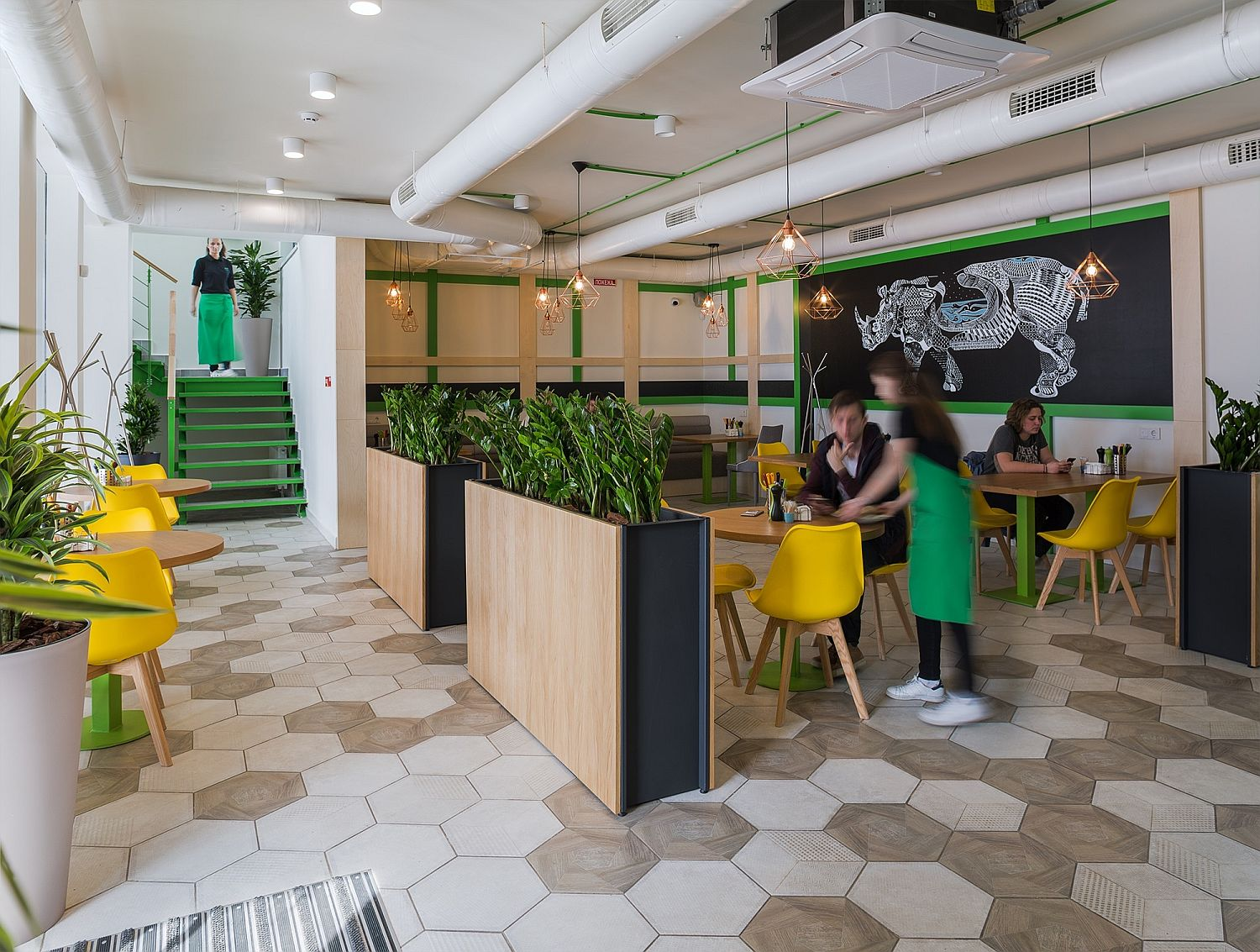 Shipping container cafe in Kiev with polished interior