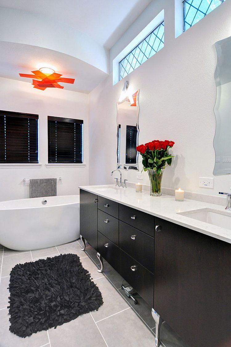 Black And White Bathroom With Wood Vanity