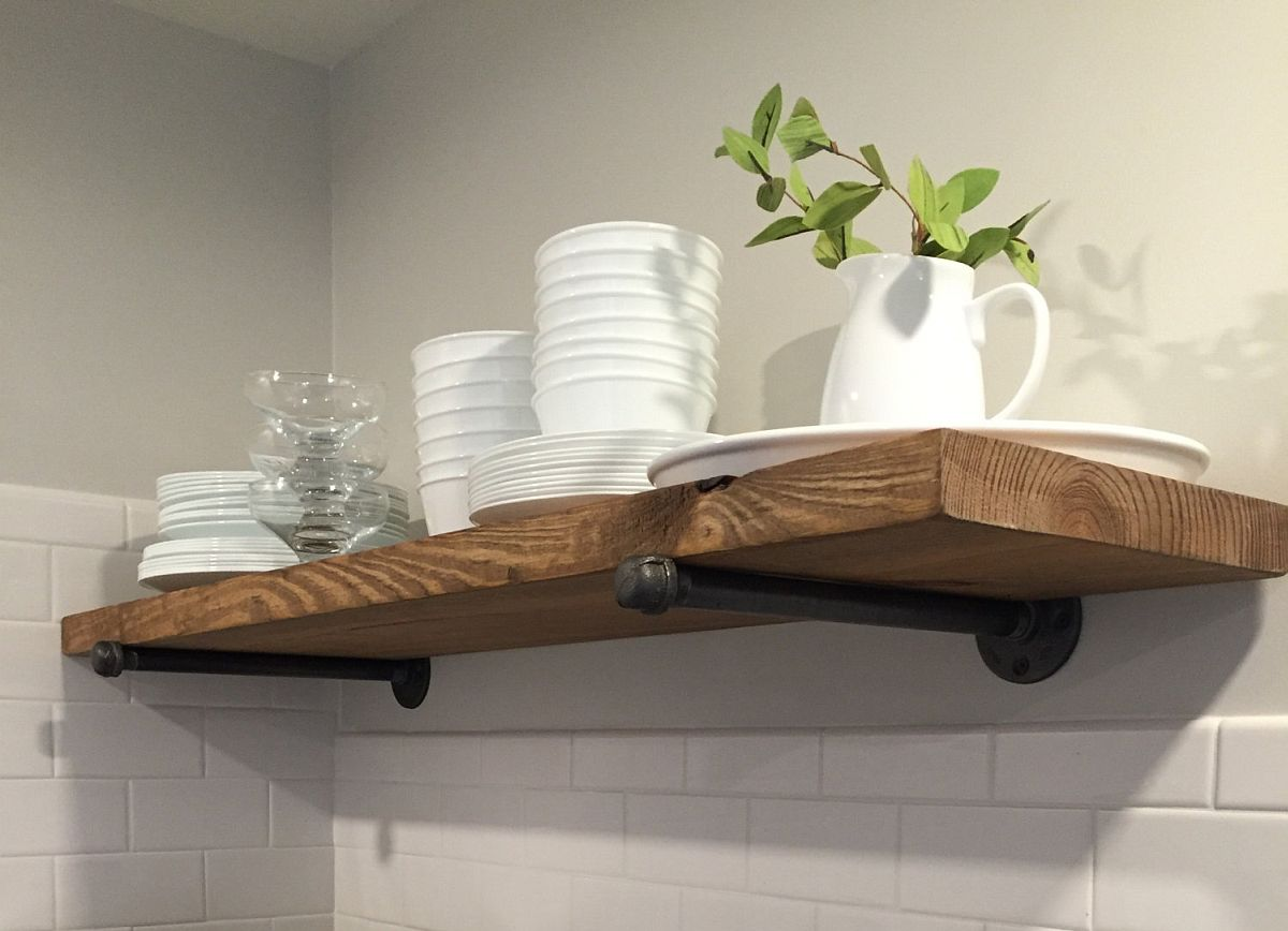 Simple DIY industrial-rustic shelf idea
