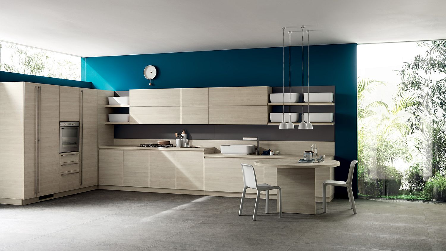 Sleek and stylish corner kitchen composition