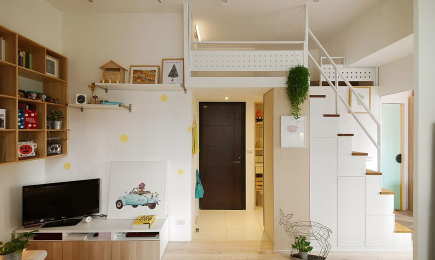 Space-Savvy Urban Apartment Designed for a Couple and their Cat!