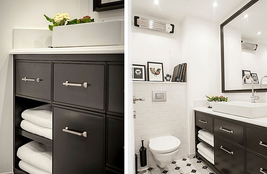 Small black and white bathroom of renovated Tel Aviv apartment