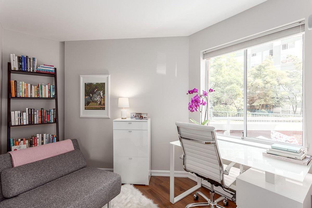Small-home-office-in-white-and-gray-with-space-savvy-decor